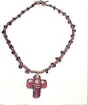 16A. GLASS CROSS NECKLACE WITH GARNET. JEWELRY !!!!!